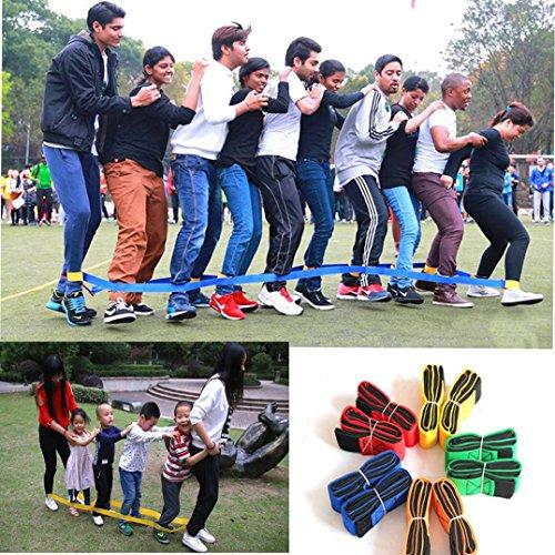 (CHFUN Cooperative Band Walker 4 Legged Race Band Set Game Teamwork Training for Children Adult Pack of 2 (Yellow, 4-Legged))