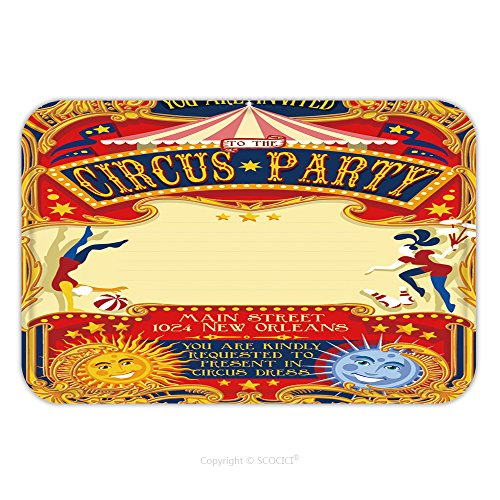 Flannel Microfiber Non-slip Rubber Backing Soft Absorbent Doormat Mat Rug Carpet Circus Theatre Fairground Retro Template Poster Invite Kid Game Birthday Party Carnival Festival 321110021 for Indoor/O (Tampa Upholstery)