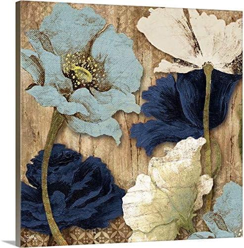 Blue Joyful Poppies II Canvas Wall Art Print