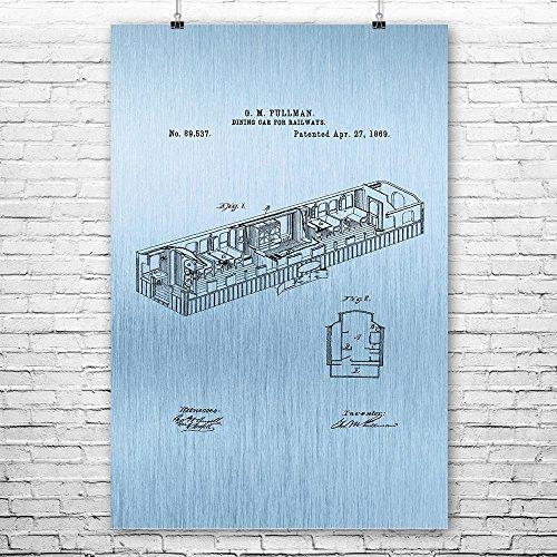 Pullman Train Dining Car 1869 Poster Print, Train Collector, Railroad Vintage, Train Dining Room, Railway Car Blue Steel (9