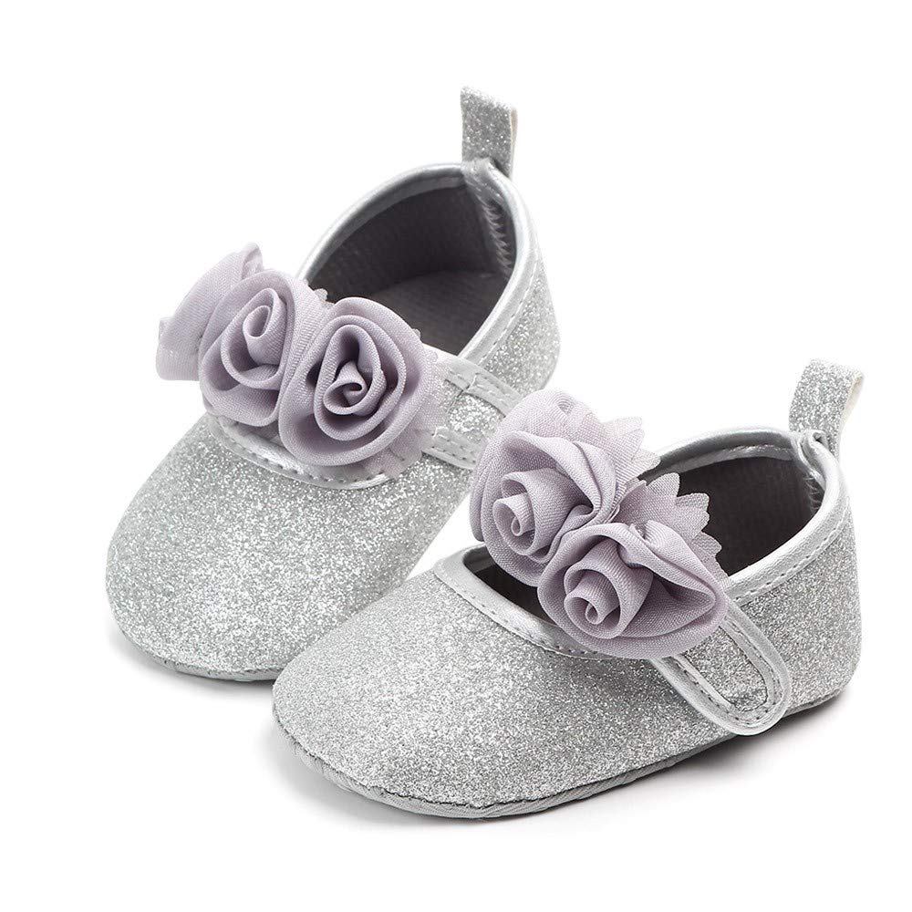 Newborn Toddler Baby Girls 0-15 Months First Walkers Soft Sole Shoes Silver