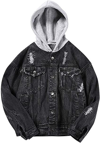 SUNFURA Mens Causal Vintage Oversized Bat Sleeve Ripped Denim Jacket with Hood