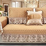 YHviking European Couch Cover,Leather Solid Wood Plush Sofa Cover,Towel Cover,Four Seasons Non-Slip Anti-wrinkling Sofa slipcover 1-Piece-A 66x60cm(26x24inch)