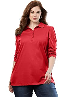 cff883af4fcd7 Roamans Women s Plus Size Shawl Collar Ultimate Tee at Amazon ...