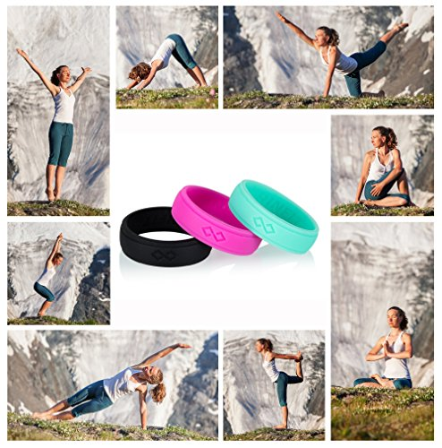 Silicone Wedding Rings | Bands for Women – 3 Rings Pack – Rinfit Designed Silicone Ring – Black,Turquoise, Pink – 5.5 mm Wide – Comes with a Gift Box!