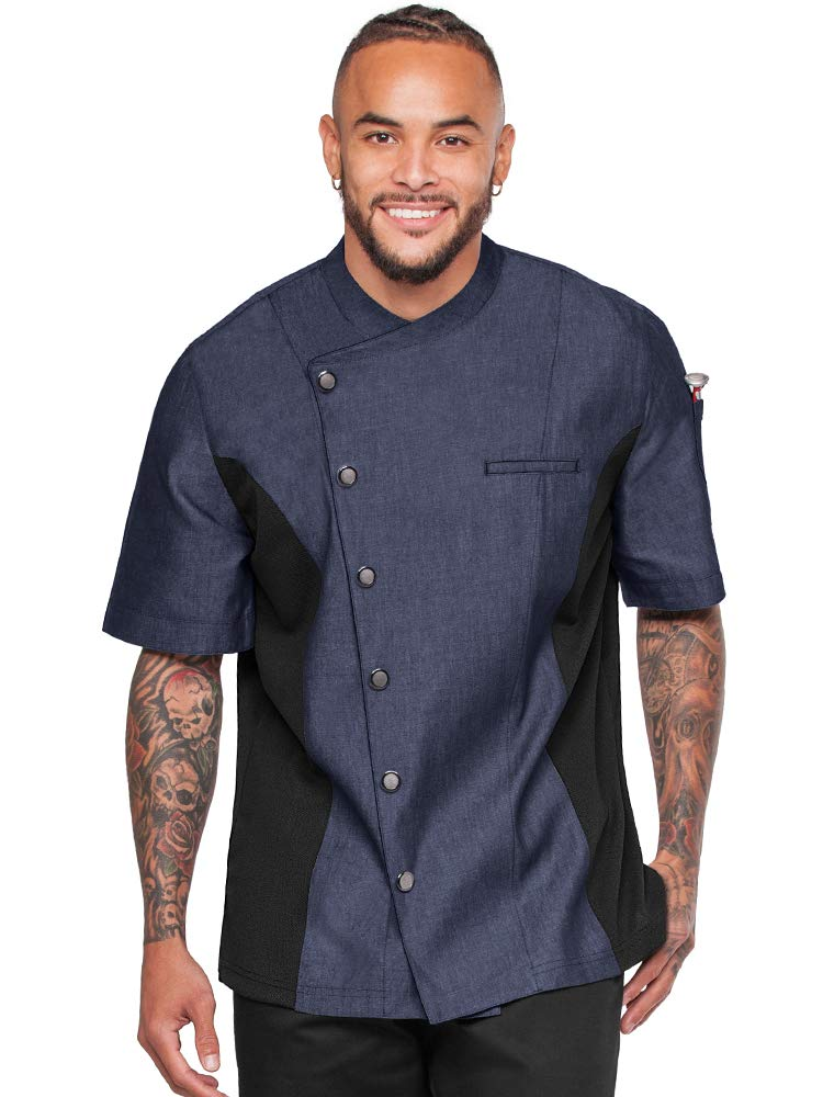 Men's Chambray Chef Coat with Mesh Side Panels (S-3X, 4 Colors) (XX-Large, Blue/Black) by Industry Line