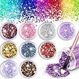 WOSTOO Glitter, Face Glitter Chunky Glitter, Hexagons Cosmetic Makeup Glitter Paillette Sparkling Decoration Glitter Hair, Body, Cheeks and Nails - (10 Pack