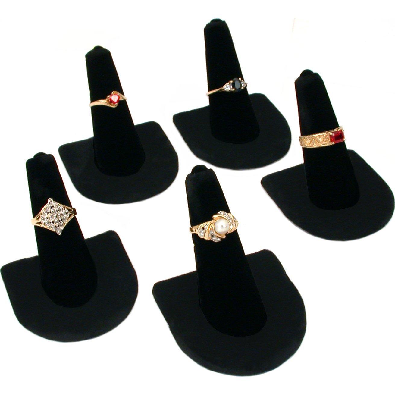 5 Black Velvet Ring Finger Jewelry Holder Showcase Display Stands Bejeweled Display 244-1 (5)