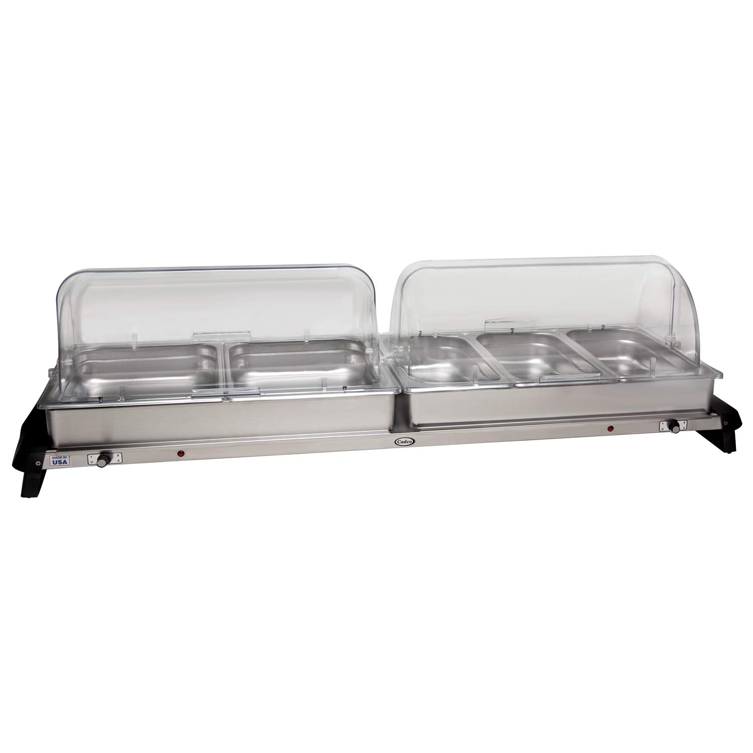 Cadco S/S Double Buffet Server w/ Roll Top Lid, WTBS-2RT