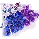 [プラス チアフル] バラ ソープフラワー プチギフト 花束 ギフト まるで 生花 のような 薔薇 一輪 × 15本 (青系 ミックス)