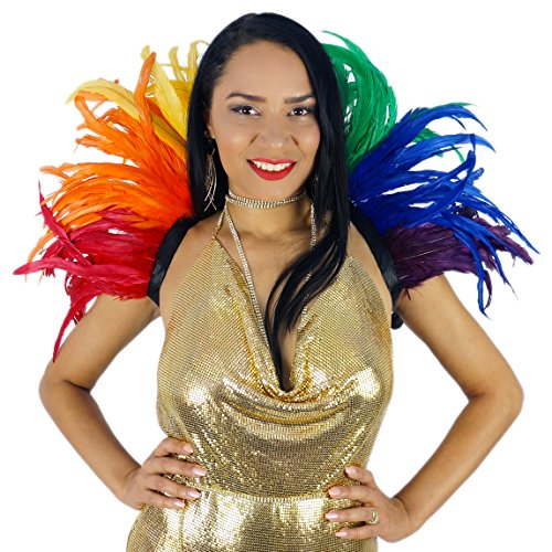 ZUCKER Feather Carnival Costume Samba Collar - Rainbow Cosplay/Halloween Costumes]()