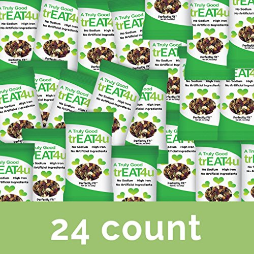 Perfectly Fit trEAT4u - 24 pack, 1oz bags | Healthy Snack | Trail Mix | Cranberries, Almonds, Walnuts, Pumpkin Seeds, Cashews, Blueberries | Office Snacks