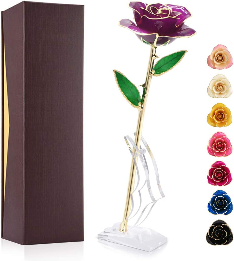 Gold Plated Rose 24K, Forever Preserved Real Rose Gift for Lover Mom Wife Daughter Girl Friend, Unique Present on Valentines Day, Wedding Anniversary, Birthday, Proposal, Reward (Purple with Stand)