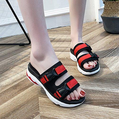 WHLShoes Antideslizante Portátil Damas De Fondo Playa para chanclas Deportes mujer Verano black Zapatillas Ocio Blando Coreano Y y Y Calzado Sandalias De Antideslizante En Sandalias rfgqHrwx