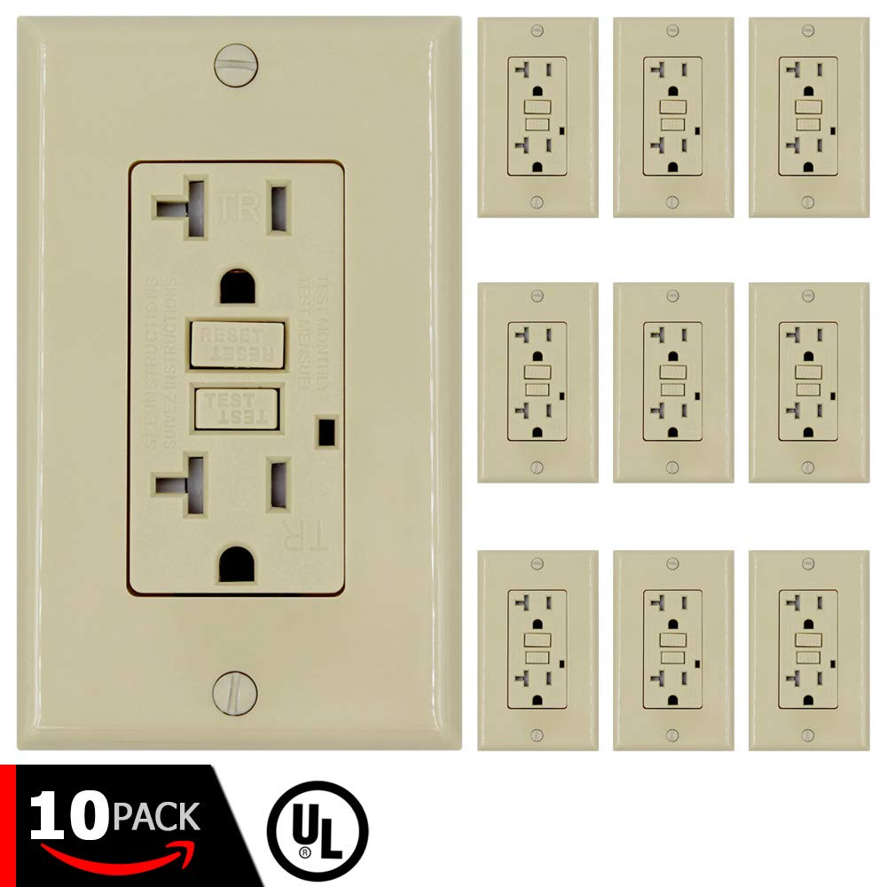 GFCI Wall Outlet Receptacle – 20 Amp, 125 Volt Tamper Resistant Duplex with LED Indicator Light. UL Listed and Comes with Wall plate and Screws (Ivory - 10PK)