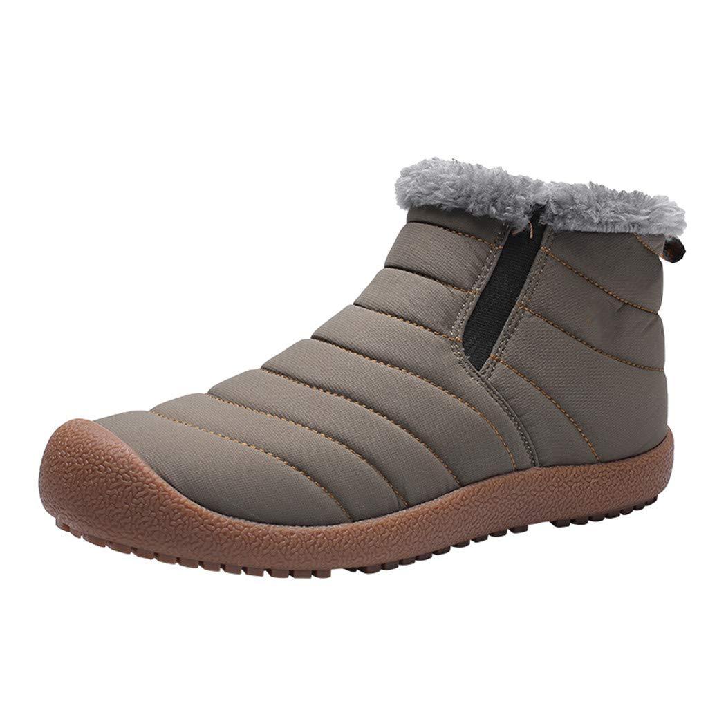 Men Snow Boots Winter Casual Outdoor Waterproof Light Weight Velvet Flat Shoes (US:11.5, Khaki)