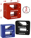(Set of 3) Precision Demagnetizer / Magnetizer Tool – Red, Black, Blue (Each measures: 2'' x 2'')