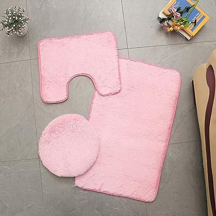 Tappeto piedistallo antiscivolo per bagno 3 pezzi coperchio copriwater rosa set lavabile tappetino da bagno