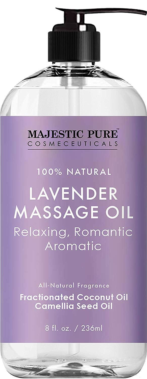 MAJESTIC PURE Lavender Massage Oil For Men and Women - Great For Calming, Soothing and to Relax - Blend of Natural Oils For Therapeutic Massaging and Aromatherapy - 8 fl oz.  by Majestic Pure