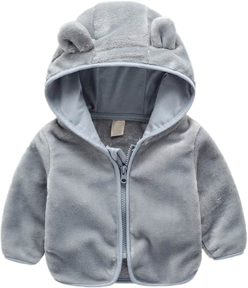 FOURSTEEDS Baby Boys Girls Faux Fur Fleece Hoodie Winter Warm Coat Jacket Cute Bear Thick Clothes