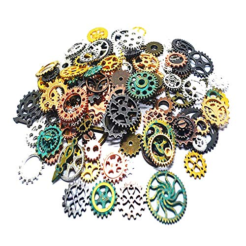 (Czorange 100 Gram 12 Color Mixed DIY Metal Steampunk Gears Charms Pendant Clock Watch Wheel Gear for Crafting Jewelry Making)