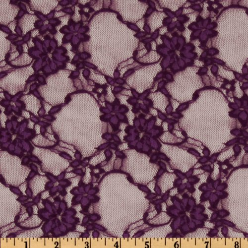 Giselle Stretch Floral Lace Plum Fabric