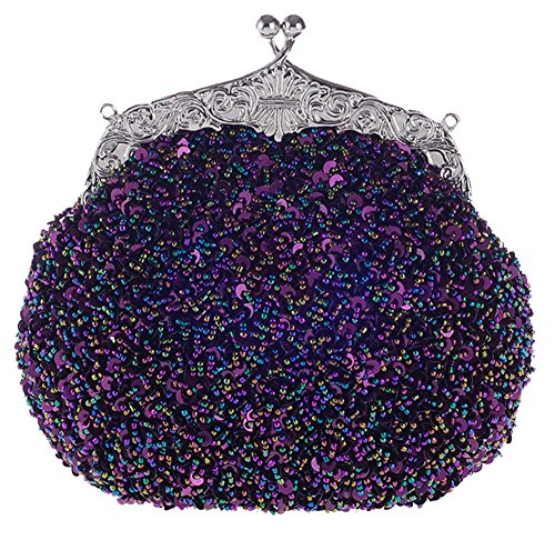 Beaded Satchel (ilishop Women's Fully Sequined Mesh Beaded Antique Style Wedding Evening Formal Cocktail Clutch Purse (Purple))