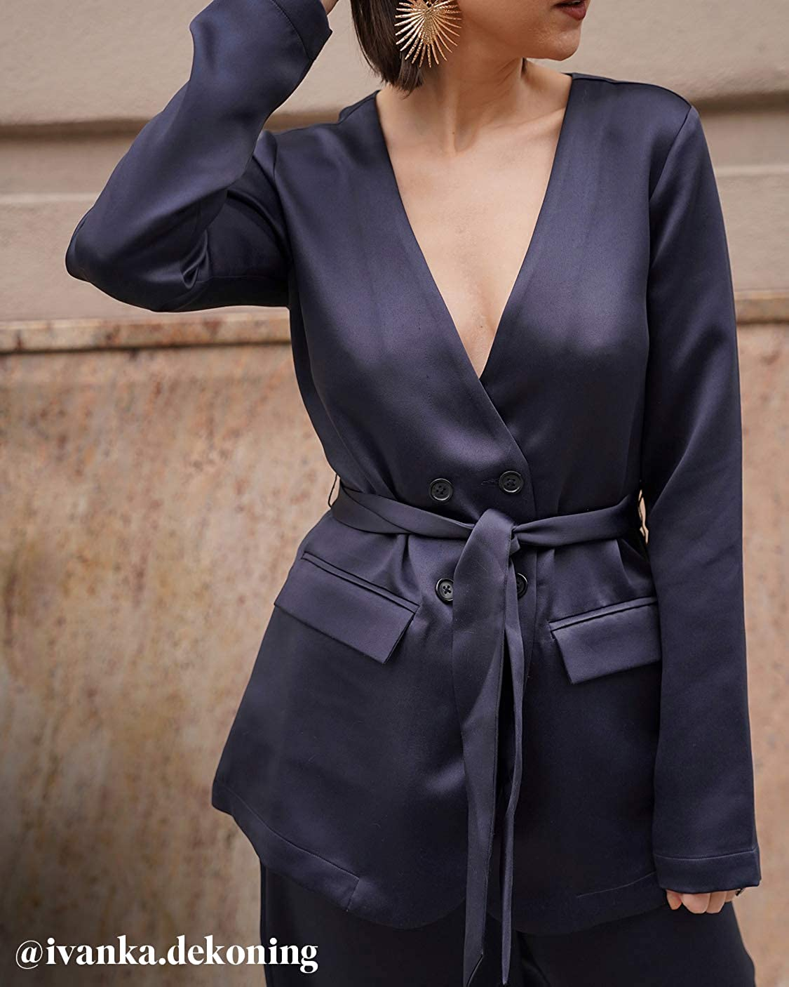 The Drop Womens @amazonthedrop Midnight Belted Waist Blazer