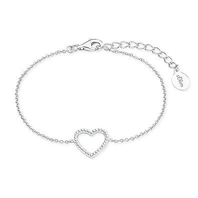 02bffd7df35f Oliver Damen-Armband So Pure 16+3 cm mit Herz-Anhänger 925 Silber  rhodiniert Zirkonia weiß  Amazon.de  Schmuck