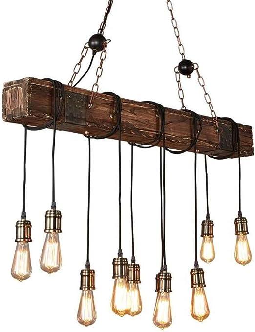 Araña Vintage, Viento de Granja Industrial Luces Colgantes Antiguas, viga de Madera Antigua Isla Lineal 10 Cabeza Luz de Techo, fácil de Instalar: Amazon.es: Hogar