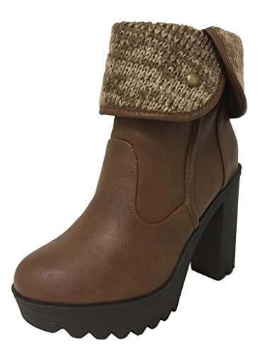 Lustacious Women's Knitted Fold Over Cuff Lug Sole Platform Ankle Bootie with Side Zipper