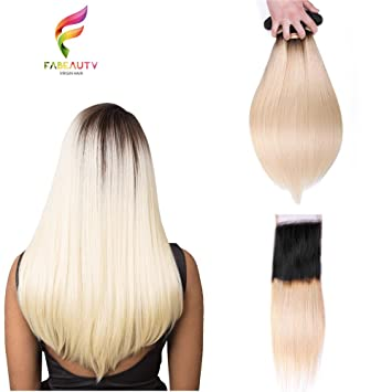 Amazoncom Ombre Blonde Straight Hair Bundles Fabeauty Hair