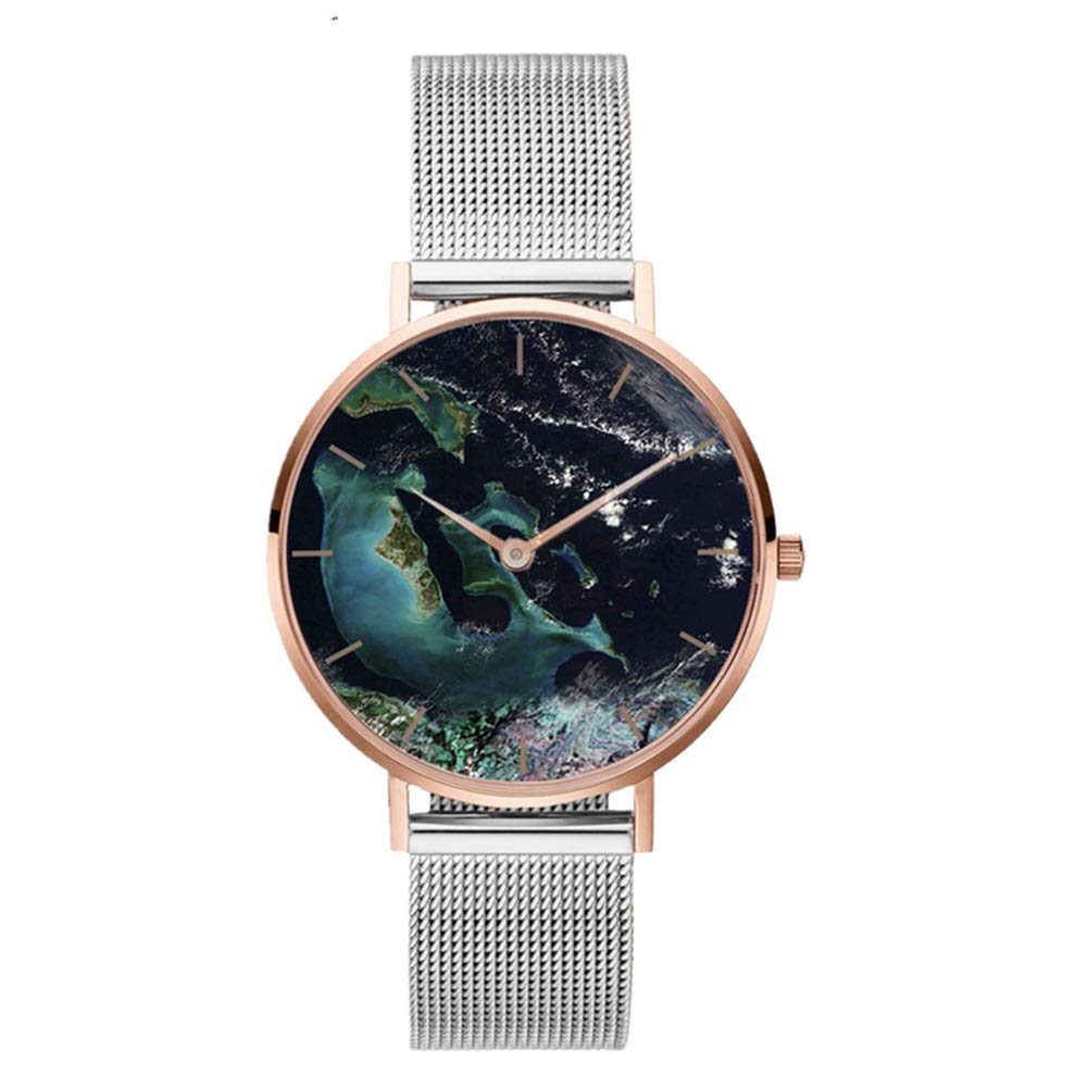 Ladies Watches Sale Women Coral Shell Stainless Steel Mesh Band Casual Quartz Wrist Watch