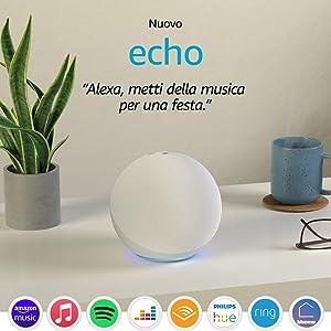 Nuovo Echo (4ª generazione) - Audio di alta qualità, hub per Casa Intelligente e Alexa - Bianco ghiaccio