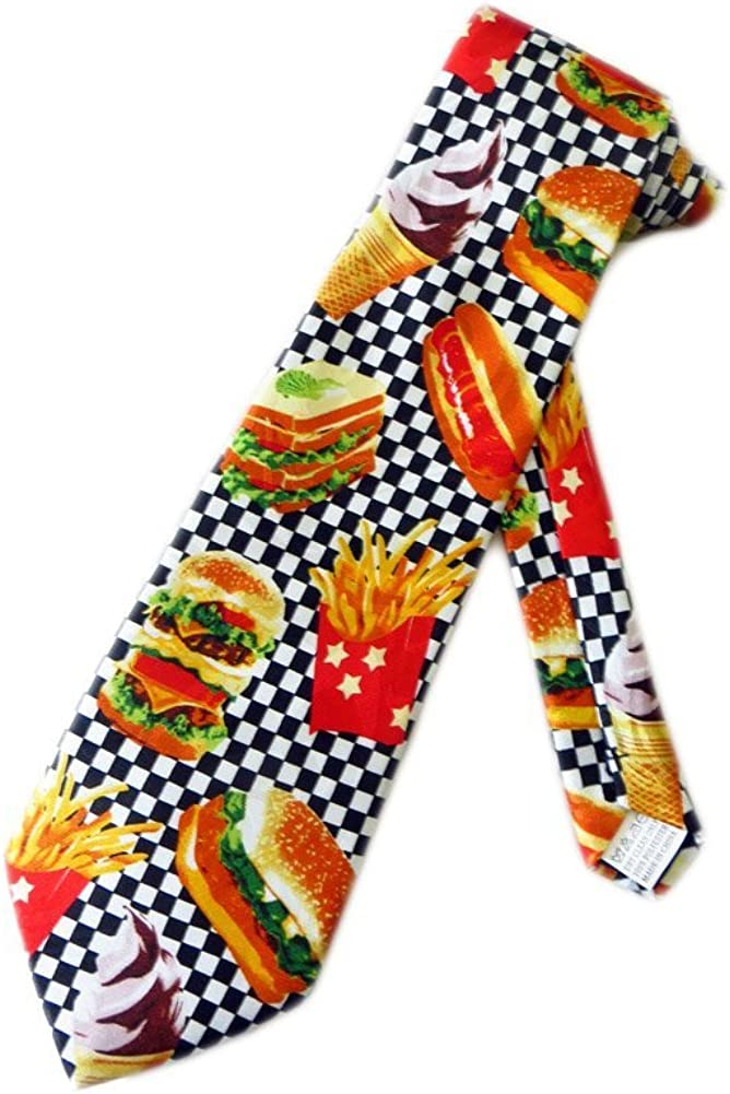 Fratello Mens Fast Food Diner Burgers Necktie - White - One Size Neck Tie.