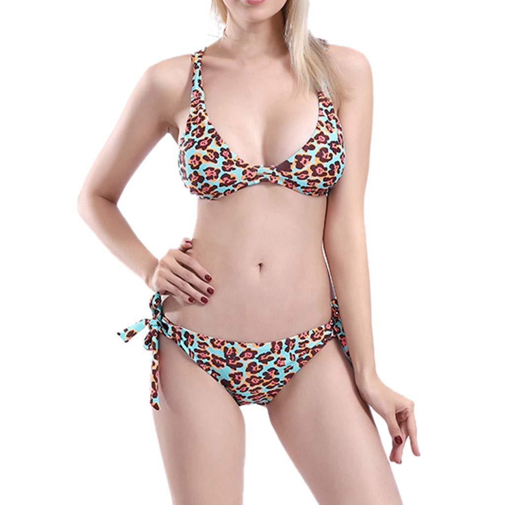 Quelife Mujer Leopardo Vendaje Tankini Set Bikini Traje de baño Traje de baño Ropa de playa