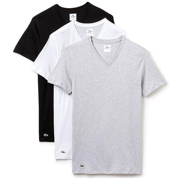 LACOSTE 3 Pack Camiseta hombre, con cuello en V, corte slim, colores lisos - Negro / Gris / Blanco: Amazon.es: Ropa y accesorios