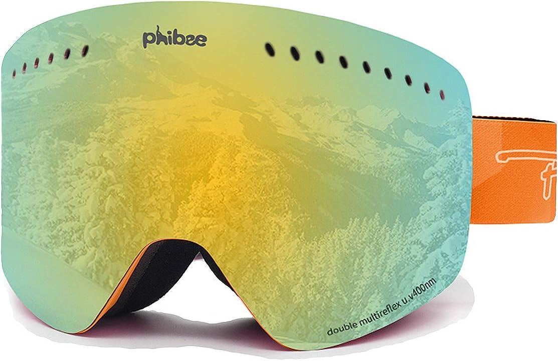 PHIBEE Unisex Snow Ski Goggles Frameless 100% UV Protection Snowboard Goggles for Men Women Youth