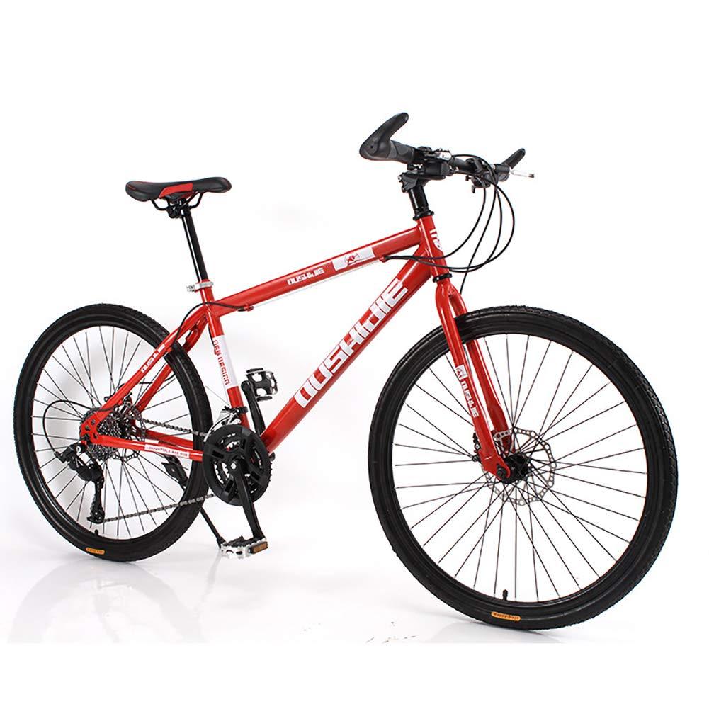 Envio gratis en todas las ordenes rojo 24Speed Unisexo Bicicleta de montaña de Cola Dura, Dura, Dura, 26 Pulgadas Estructura de Acero con Alto Contenido de Cochebono 21 24 27 30 Velocidad Freno de Disco Doble Bicicleta Ciudad del Viajero Bicicleta,rojo,21Speed  oferta especial