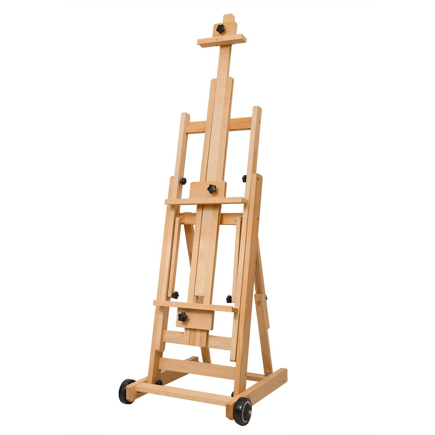 MEEDEN Versatile Studio H-Frame Easel - All Media Adjustable Beech Wood Studio Easel, Painting Floor Easel Stand, Movable and Tilting Flat Available, Holds Canvas Art up to 77'' by MEEDEN