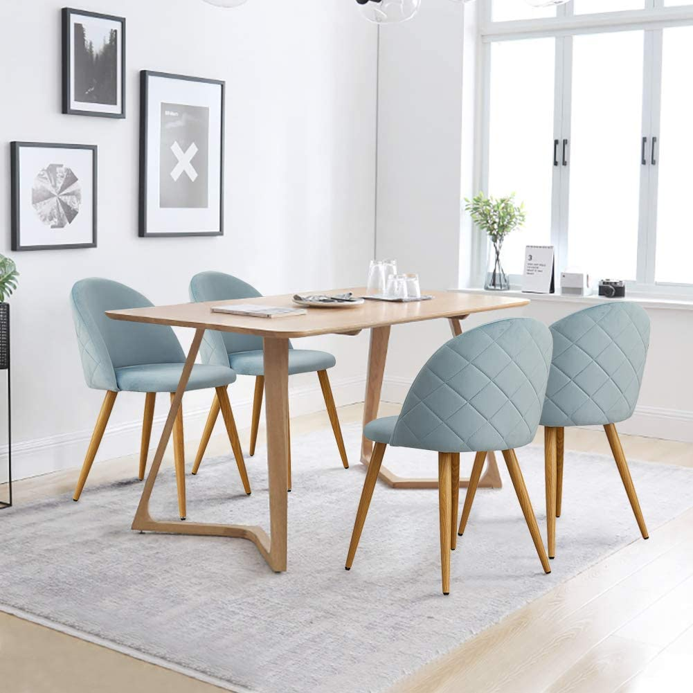 Clipop Set Of 4 Dining Chairs Velvet Light Blue Kitchen Chairs With Backrest And Wooden Style Sturdy Metal Legs Living Room Lounge Leisure Chairs For Home Office And Restaurant Furniture Amazon Co Uk Kitchen