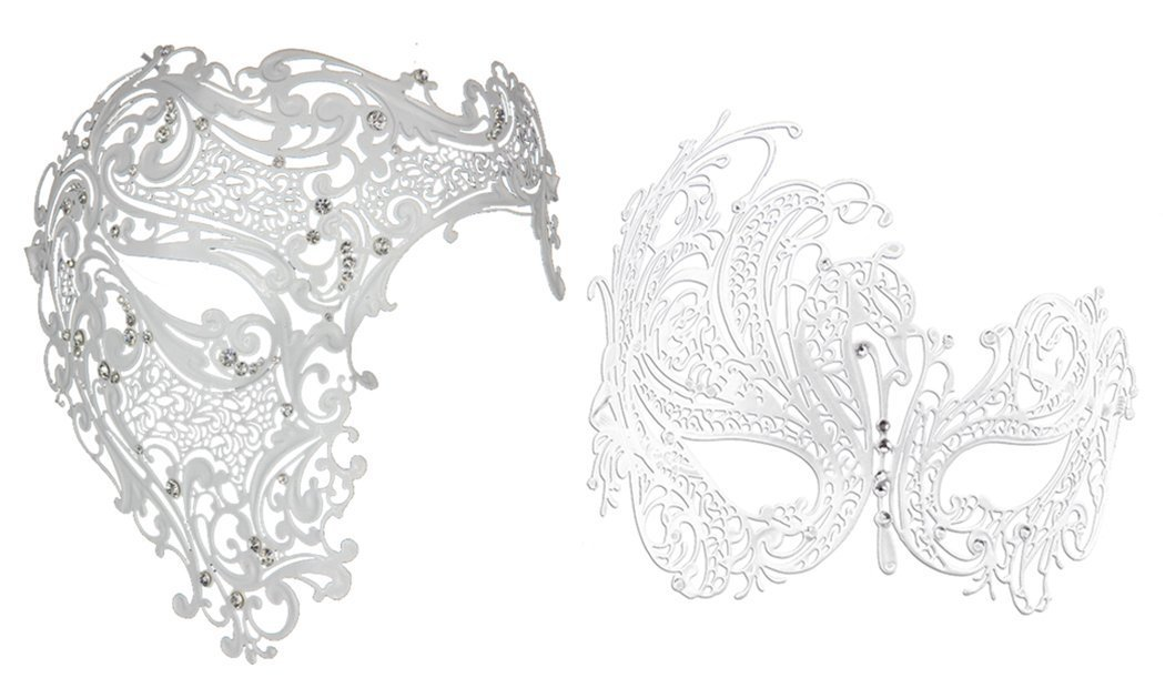 Coddsmz Venetian Phantom Of The Opera Couple Half Face Mask With Crystal (White)