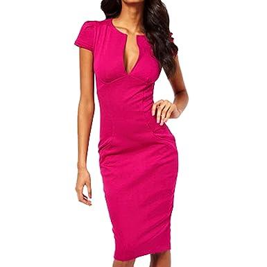 SUNNOW® Elegant Damen Kleid Formal tief V-Ausschnitt Business ...