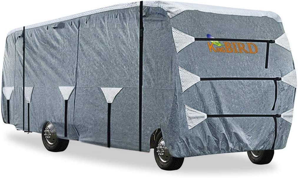 KING BIRD Upgraded Class C RV Cover, Extra-Thick 5 Layers Anti-UV Top Panel, Deluxe Camper Cover, Fits 20'- 23' RV Cover -Breathable, Water-Proof, Rip-Stop with 2Pcs Extra Straps & 4 Tire Covers