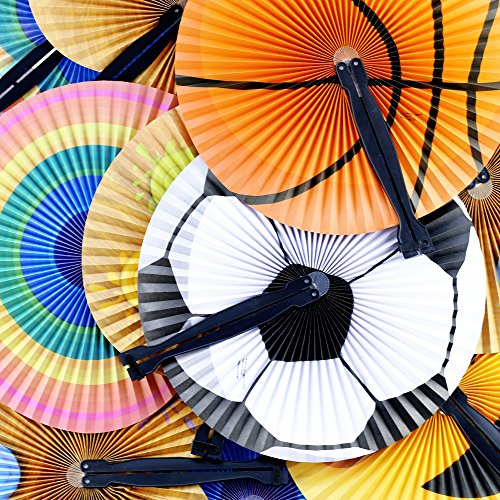 ISusser Folding Fan Assortment (24ct) - Paper with Plastic Handle - (Printed Fans Favors)