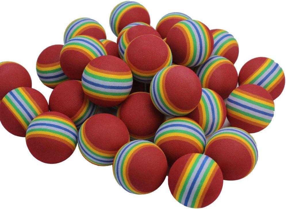 Awakingdemi 50 Pack EVA Foam Golf Balls Golf Golfer Swing Training Aids Indoor Practice Rainbow Balls or Cat Toy