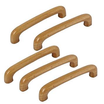 Sourcingmap/® 125/mm x 12/mm x 24/mm Fixation /à vis en bois Wood Tirette Poign/ées Beige 5/pcs