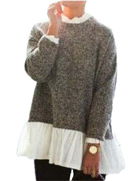 AILIENT Mujer Elegantes Encaje Blusa T-Shirts Manga Larga De Sudaderas Cuello Redondo Pulover Ocasionales Tops Stitch Personalizadas: Amazon.es: Ropa y ...