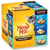 Meow Mix Simple Servings Seafood Variety Pack Wet Cat Food, 1.3 oz Cups (Pack of 24 Cups)