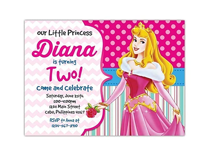 Custom Sleeping Beauty Birthday Party Invitations For Kids 10pc 60pc 4x6 Or 5x7 Cards With White Envelopes Printed On Premium 265gsm Card